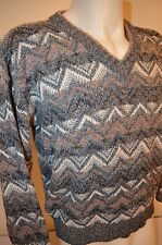 Geometric Zig Zag Indie Hip Hop Cosby Christmas Oversized M Ugly Sweater VTG 80s