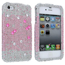 Pink to White Fade Full Diamond Design Snap-On Hard Case Cover for iPhone 4 / 4S