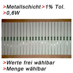 Strato IN Metallo Film Metallico Resistenze 0,6W 1% Valore a Scelta 20/50/100