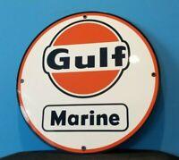 VINTAGE GULF GASOLINE MARINE BOAT MOTOR PORCELAIN SERVICE STATION PUMP RACK SIGN
