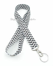 Black & White Chevron Neck Lanyard with Key ring for ID Badge holder