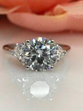 2.5 ct Brilliant Round Cut Moissanite Ring Near White 14k White Gold