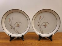 """Set of 2 Nitto Meadow Stone Ming Garden 9188 Japan 10 3/4"""" Dinner Plates"""