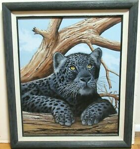 "DAVID E KINNEY ""BLACK PANTHER"" ORIGINAL OIL ON CANVAS PAINTING"