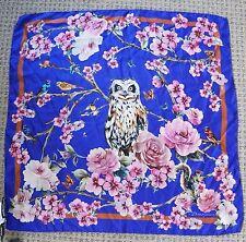 DOLCE & GABBANA Purple Enchanted Forest Owl Bird Silk Scarf NWT *RARE*