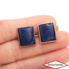 Vintage Lapis Lazuli 14K Yellow Gold Rectangular Cufflinks 7.4 Grams NR