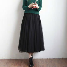 Summer Womens Elastic High Waist Long Mesh Tutu Tulle Pleated Skirt Casual