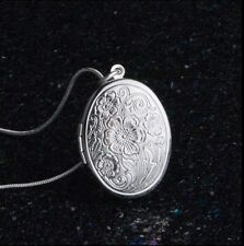 Patchouli Perfume Silver Oval Locket, Floral Necklace pendant.