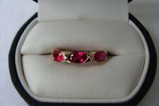 10K SOLID YELLOW GOLD RUBY DIAMOND Size 7.5 Ring 1.8 gr Wear Not Scrap!