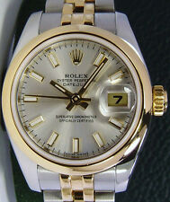 ROLEX - Ladies 18kt Gold & Stainless DateJust - Silver Index 179163 SANT BLANC