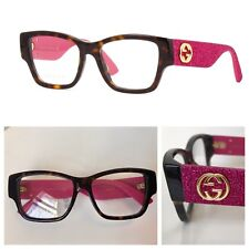 8bc16c579796 NEW AUTHENTIC GUCCI GG0104O 51-17-140 HAVANA PINK GLITTER EYEGLASSES FRAMES