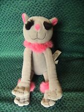 """MARKS AND SPENCER PUSSY CAT SOFT TOY GREY PINK KITTY 6"""" SITTING APPROX"""
