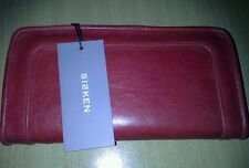 SISKEN Zip Wallet SANTIAGO Cherry Red New With Tags RRP $140