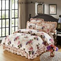 100% Cotton Soft Bedclothes Bedding Sets Quilted Thick Bed Spread Duvet Cover