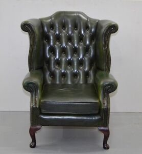 VINTAGE CHESTERFIELD QUEEN ANNE IN GREEN LETHER HIGH WINGBACK ARMCHAIR