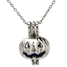 K389 Silver Pearl Cage Halloween Pumpkin Stainless Necklace Kids Party Gift