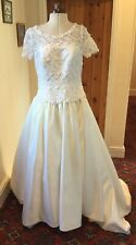 VINTAGE 1990's IVORY LACE & 'SATIN' WEDDING DRESS BY FOREVER YOURS