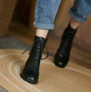 Women's Genuine Leather Ankle Boots Low Heel Lace Up Short Boots Black Shoes