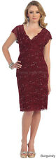 PLUS SIZE EVENING GOWN  MOTHER of the BRIDE GROOM DRESS TEA LENGTH BRIDESMAIDS