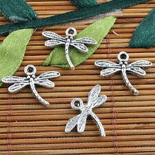 Alloy metal Tibetan Silver color  dragonfly design charms 35pcs EF0123