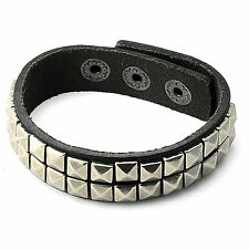 Men Woman Black Cool Punk Leather Cuff Bangle Bracelet with Pyramid Stud Design
