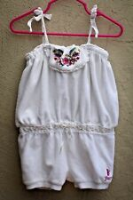 JUICY COUTURE Toddler Girls 18-24m White with Embroidery Terry Romper, Onepiece
