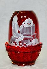 Fenton, Fairy Light, Ruby Glass, Mary Gregory Design, Halloween, Hand Decorated.