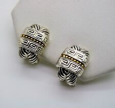 Chic Unique Classic Design Style Two tone cable Omega Latch Fashion Earring 8-24