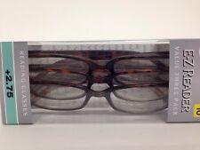 LOT OF 3 FGX E-Z READER TORTOISE READING GLASSES +2.75 NEW