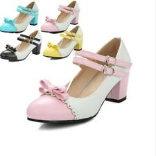 Sweet Girls Pieced Strap Bowknot Womens Lace Mary Jane Oxford Shoes US Size 4-13