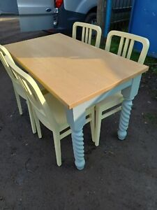 Farmhouse Solid Pine Table Kitchen Table And 4 Chairs We Can Deliver