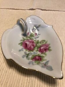 Lefton Hand Painted Roses Gold Trim with Handle Plate