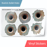 """Realistic Bullet Hole 3D Stickers Vinyl Decals Rusty Look 1.5 x 1.5"""""""