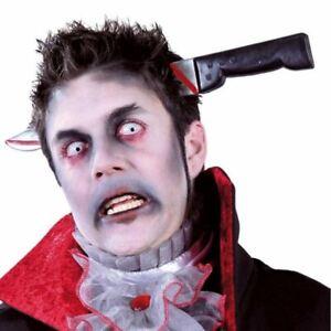 Halloween Knife Through The Head Zombie One Size Fancy Dress Accessory