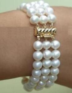 "Graceful 3 rows 7-8mm white freshwater pearl bracelet 7.5"""