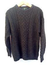 Orvis Mens Large Sweater Gray Wool Fisherman Cable Knit Ireland Brown