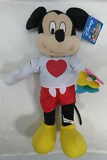 "Disney Mickey Mouse Flowers Heart on Shirt Shorts 16"" Plush New with Tags"