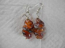 New listing Red-orange-multicolor twisted glass handmade earrings + stoppers