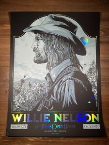 Willie Nelson Art Print Poster FOIL EDITION By Ken Taylor Austin Opry House 4/5
