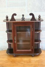 """Vintage Wooden Curio Cabinet Table or Wall Mount w/Door 17"""" Tall"""