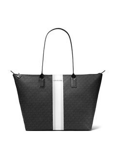 Michael Kors Extra Large Logo Stripe Top Zip Travel Tote Weekend Bag Black NWT