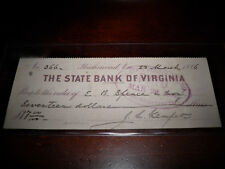Virginia Bank Check Signed By Confederate States Major General James L. Kemper