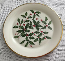 "Lenox Holiday/Christmas 12.75""  Round ServingPlatter Plate Ivory China Gold Trim"
