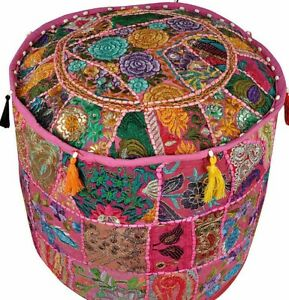 Indian Bohemian Patchwork Ottoman Pouf Cover Ethnic Decor Pouffe Foot Stool