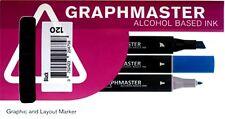 GRAPHMASTER ALCOHOL BASED MARKER PENS BLACK SET OF 6