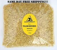 YELLOW BEESWAX BEES WAX by H&B Oils Center ORGANIC PASTILLES BEADS PURE 24 OZ