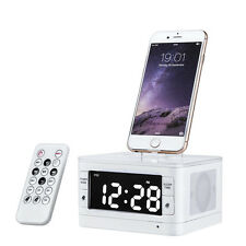 Portable Remote Bluetooth Speaker Dock Station for iphone 7 6S Plus with Clock