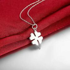 Silver Plated Four Leaf Clover Lucky Pendant Long Necklace Sweater Chain 1pc GD