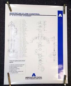 """American Flow Control Darling Fire Hydrant Parts Poster 6"""" B-84-B, #4-95-3M"""