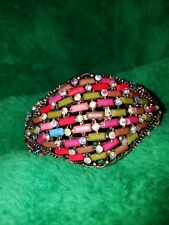 Brass Bracelet retro vintage colored stones and crystals opening is a pull apart